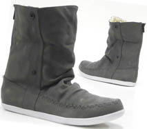 Damen Schuhe Stiefelette Teddy Kunst Fell High Top Sneaker grau 40