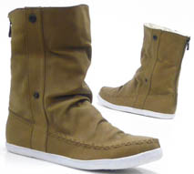 Damen Schuhe Stiefelette Teddy Kunst Fell High Top Sneaker khaki 37