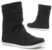Damen Schuhe Stiefelette Teddy Kunst Fell High Top Sneaker schwarz 37