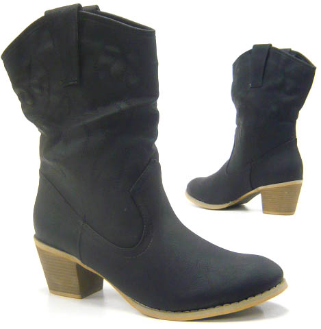 damen schuhe stiefelette elegante cowboy stiefel boots ebay. Black Bedroom Furniture Sets. Home Design Ideas