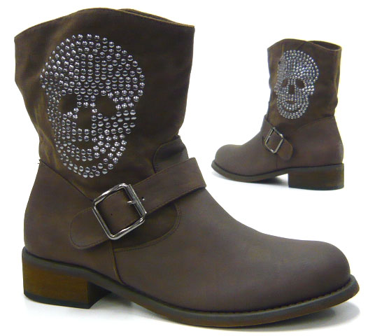 skull studded ankle boot boots women 39 s shoes boots new ebay. Black Bedroom Furniture Sets. Home Design Ideas