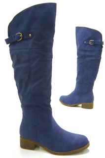 High-Fashion-Damen-Schuhe-Stiefel-flache-Overknee-Boots