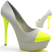 15 cm Damen Schuhe Pumps Italy Design Stiletto  beige - neon gelb 40