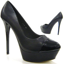 15 cm Damen Schuhe Pumps Italy Design Stiletto  schwarz 40