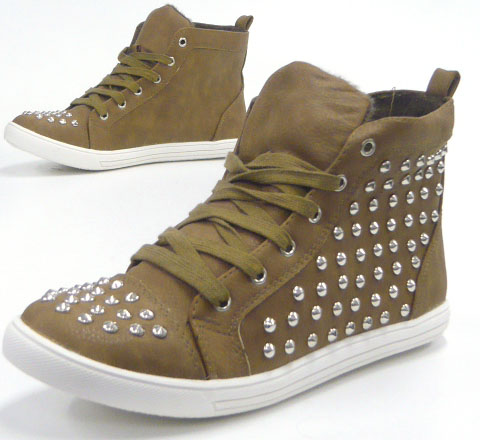 TOP Damen Schuhe Stiefelette High 331A1 Class High Top Sneaker camel 38