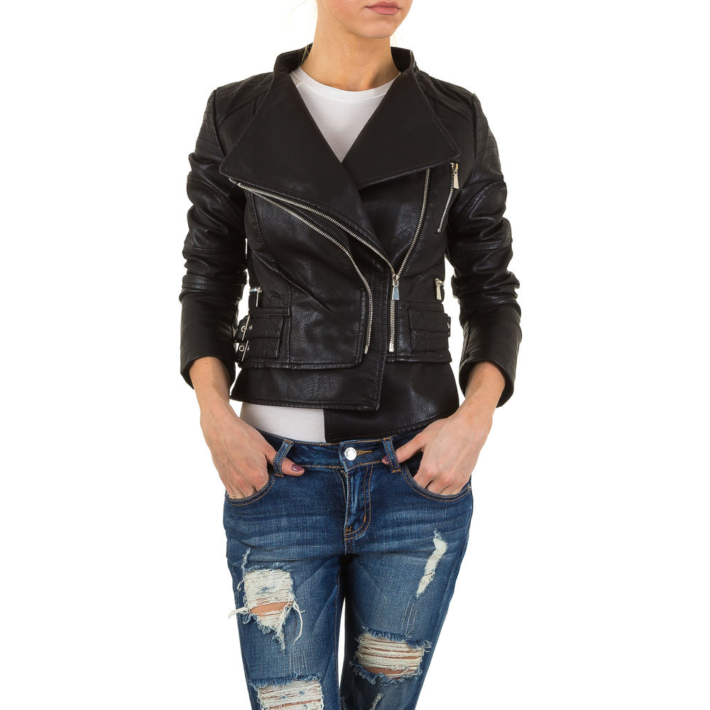 damen jacke leder optik bikerjacke 1988 motorradjacke 36. Black Bedroom Furniture Sets. Home Design Ideas