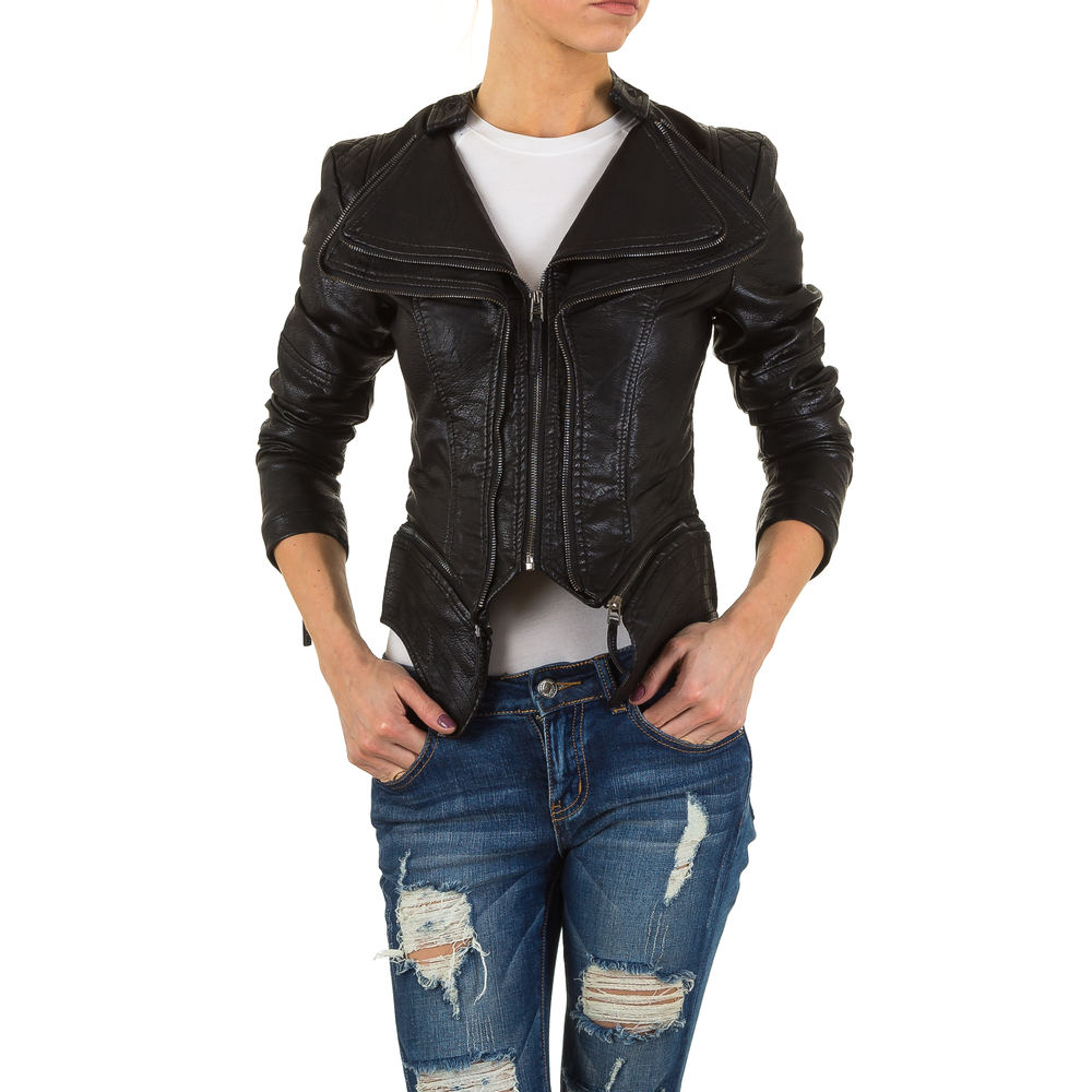 damen jacke leder optik bikerjacke 5477 motorradjacke s xl. Black Bedroom Furniture Sets. Home Design Ideas