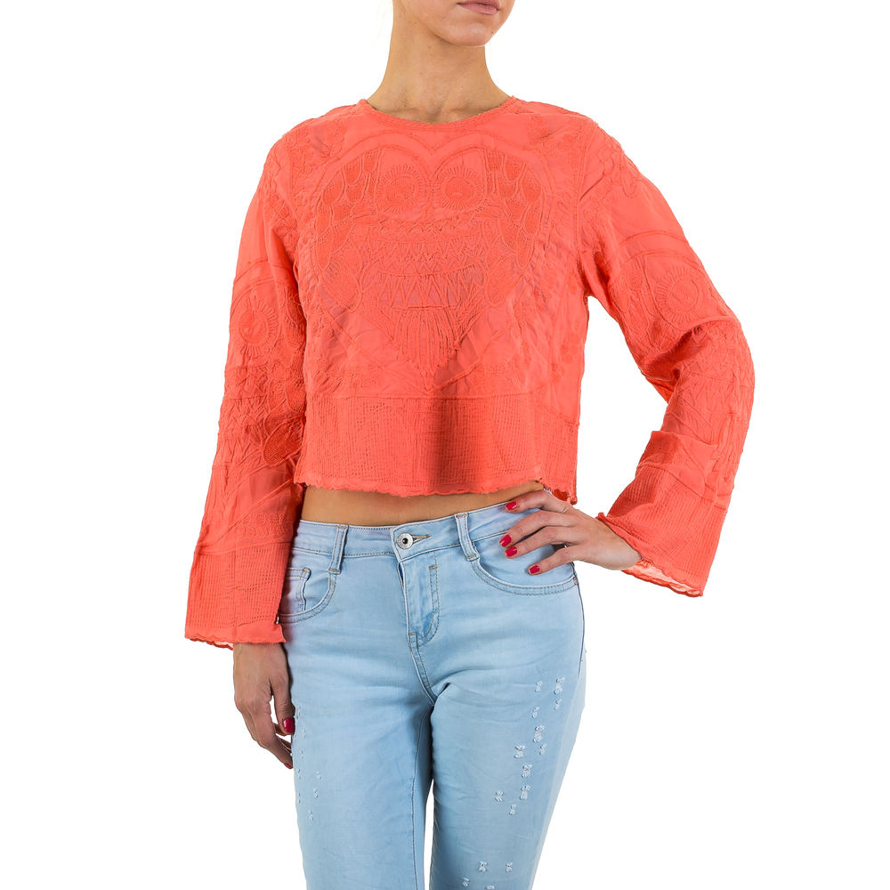 Damen Bluse Bestickte Cropped Apricot L