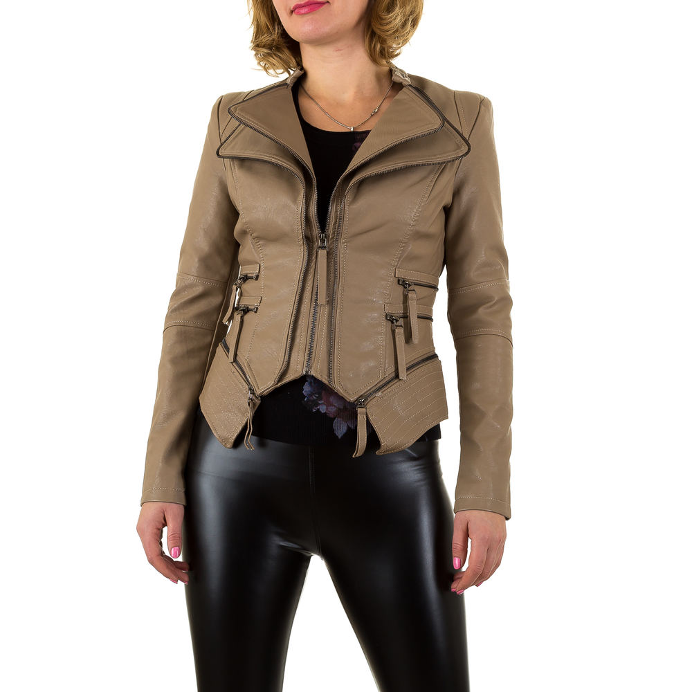 damen jacke imitat lederjacke bikerjacke eleganter bloson s xl ebay. Black Bedroom Furniture Sets. Home Design Ideas