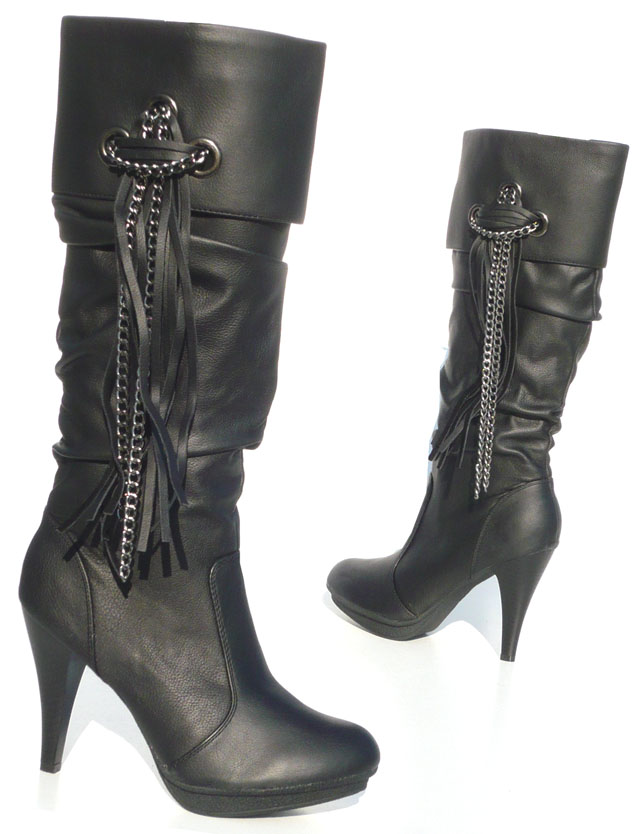 elegante damen schuhe stiefel designer boots mit kette ebay. Black Bedroom Furniture Sets. Home Design Ideas