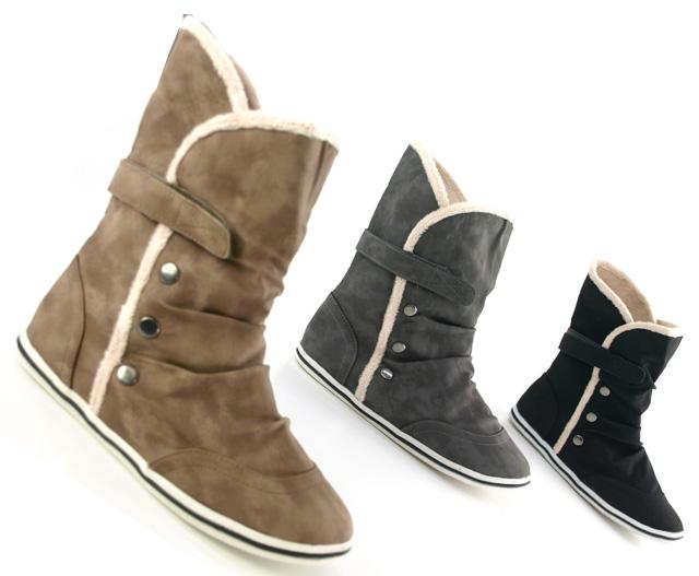 kunst fell stiefelette damen winter sneaker 2011 ebay. Black Bedroom Furniture Sets. Home Design Ideas